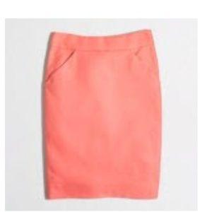 J. Crew Factory peach cotton pencil skirt